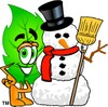 Cartoon Green Leaf Character Beside Snowman clipart