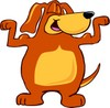 Cartoon Pet Dog Flexing Muscles clipart