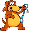 Cartoon Pet Dog With Leash clipart