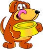 Cartoon Pet Dog With Food Dish clipart