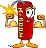 Cartoon Fire Cracker or Stick of Dynamite Flexing His Muscles clipart
