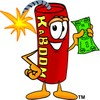 Cartoon Fire Cracker or Stick of Dynamite Holding Money clipart