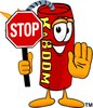 Cartoon Fire Cracker or Stick of Dynamite Holding a Stop Sign clipart