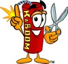 Cartoon Fire Cracker or Stick of Dynamite Holding Scissors clipart