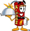 Cartoon Fire Cracker or Stick of Dynamite Serving Dinner Like a Waiter clipart