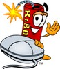 Cartoon Fire Cracker or Stick of Dynamite Beside Computer Mouse clipart