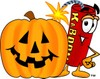 Cartoon Fire Cracker or Stick of Dynamite With a Halloween Jack O Lantern clipart