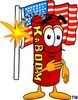 Cartoon Fire Cracker or Stick of Dynamite Pledging His Allegiance to the Flag clipart