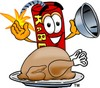 Cartoon Fire Cracker or Stick of Dynamite With a Thanksgiving Day Turkey clipart