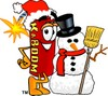 Cartoon Fire Cracker or Stick of Dynamite Beside a Snow Man clipart