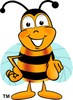Cartoon Bumble Bee or Honey Bee Pointing clipart