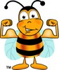Cartoon Bumble Bee or Honey Bee Flexing His Muscles clipart