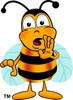 Cartoon Bumble Bee or Honey Bee Whispering clipart