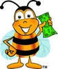 Cartoon Bumble Bee or Honey Bee Holding Money clipart