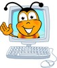 Cartoon Bumble Bee or Honey Bee in a Computer clipart