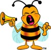 Cartoon Bumble Bee or Honey Bee Holding a Megaphone clipart