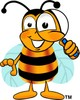 Cartoon Bumble Bee or Honey Bee Holding a Magnifying Glass clipart