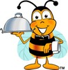 Cartoon Bumble Bee or Honey Bee Serving Food clipart