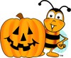 Cartoon Bumble Bee or Honey Bee With Halloween Jack O Lantern Pumpkin clipart
