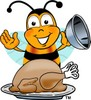 Cartoon Bumble Bee or Honey Bee With a Thanksgiving Turkey clipart