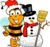 Cartoon Bumble Bee or Honey Bee With a Snow Man clipart