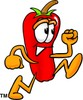 Cartoon Chili Pepper Running clipart