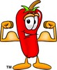 Cartoon Chili Pepper Flexing His Muscles clipart