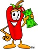 Cartoon Chili Pepper Holding Money clipart