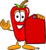 Cartoon Chili Pepper With a Price Tag clipart