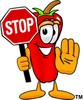 Cartoon Chili Pepper Holding a Stop Sign clipart