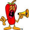 Cartoon Chili Pepper Holding a Megaphone clipart
