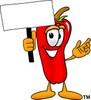 Cartoon Chili Pepper Holding a Sign clipart