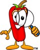 Cartoon Chili Pepper Holding a Magnifying Glass clipart