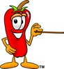 Cartoon Chili Pepper Holding a Pointer clipart