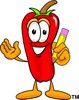 Cartoon Chili Pepper Holding a Pencil clipart