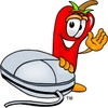 Cartoon Chili Pepper by a Computer Mouse clipart