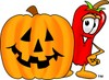 Cartoon Chili Pepper by a Halloween Pumpkin clipart