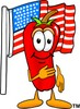 Cartoon Chili Pepper Saying Pledge of Allegiance to the American Flag clipart
