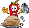 Cartoon Chili Pepper With Thanksgiving Turkey clipart