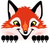 Fox Mascot Costume Character Peeking Over Something clipart