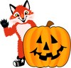 Fox Mascot Costume Character With Halloween Pumpkin clipart