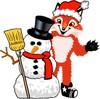 Fox Mascot Costume Character Wearing Santa Hat clipart