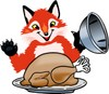 Fox Mascot Costume Character With a Thanksgiving Day Turkey clipart