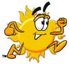 Cartoon Sun Character Running clipart