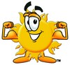 Cartoon Sun Character Flexing His Muscles clipart