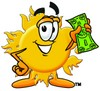 Cartoon Sun Character Holding Money clipart