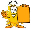 Cartoon Sun Character Holding A Price Tag clipart