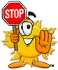 Cartoon Sun Character Holding A Stop Sign clipart