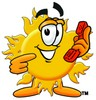 Cartoon Sun Character Holding A Phone clipart
