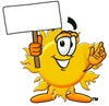Cartoon Sun Character Holding A Sign clipart